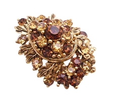Wedding Christmas Cake Smoked Topaz Golden Shadow Crystals Brooch Gift - $15.98