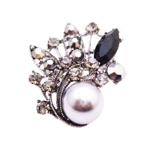 Gray Pearl & Black Diamond Crystals Silver Casting Vintage Brooch Gift - $17.28