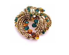 Ethnic Prom Brooch Mutli Colored w/ Multi Stripes Brooch Dress Brooch - $15.33