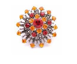 SUNSET Vintage Brooch Orange Lite Siam Crystals Oxidised Metal Brooch - $14.03