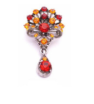 Bouquet of Flowers with Dangling Teardrop Orange Siam Red Crystal Broo - $14.03