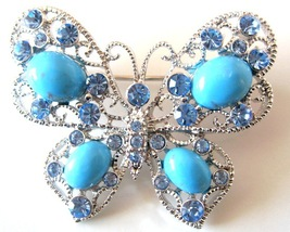 Turquiose Butterfly Aquamarine Crystals Holiday Gift Brooch Pin - $22.48