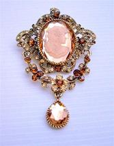 Victorian Cameo Lady Antique Gold Copper with Smoked Topaz Brooch - $31.58