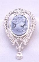 Victorian Lady Holding Flower Cameo Lady Brooch Pendant - $17.93