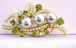 Olivine Pearls & Crystals Wedding Dress Classy Brooch 2 1/4 Inches - $22.48