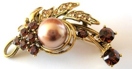 Bridesmaid Bridal Bronze Pearls with Smoked Topaz Crystals Brooch - $20.53
