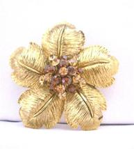 Gold Flower Petals with Smoked Topaz & Topaz Bridal Brooch 2 x 2 Inche - $24.43