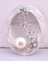 Thin Metal Wires Interwoven Oval Shaped Bridal Wedding Cake Brooch - $17.28