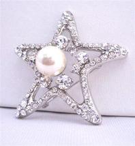 StarFish Vintage Brooch with 12mm Pearls as Fish Eye - $22.48