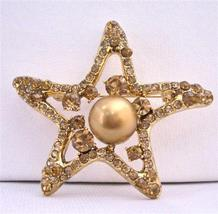Smoked Topaz Golden StarFish 12mm Copper Pearls Vintage Brooch - $25.73