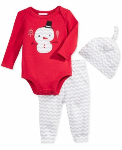 First Impressions Baby Girls 3-Pc. Holiday Set Body, Leggings Set & Hat Red D...