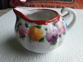 Vintage Hand Painted Floral Ceramic Red Rim Small Coffee Creamer - $6.00