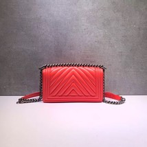 AUTHENTIC NEW CHANEL CORAL RED CHEVRON QUILTED CALFSKIN MEDIUM BOY FLAP BAG RHW image 3