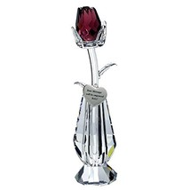 Crystal Purple Rose in Vase in Blue Velvet Box with Customizable Silver ... - $72.56