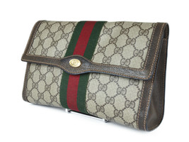 GUCCI GG Pattern PVC Canvas Leather Browns Clutch Bag GP2182 - $259.00