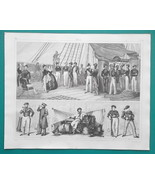 SHIPS of War Crew Officers Cadets Russian English - 1844 Superb Print - $19.80