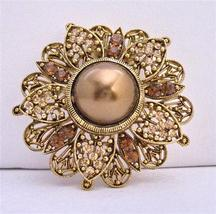 Wedding Round Copper Gold Plated Antique Bridesmaid Brooch Pin - $26.38
