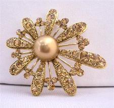 Bronze Smoked Topaz Encrusted Adorable Gold Fan Flower Petals Brooch - $19.88