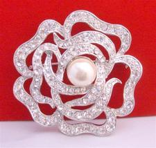 Multi Round Rose Wedding Sparkling Brooch 2 Inches in Diameter - $27.03