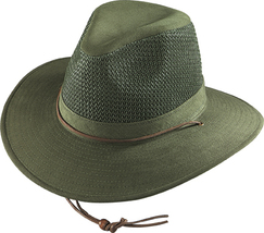 Henschel Cotton Twill Aussie Breezer Made In USA UPF 50+ Green Khaki Nat... - $51.00