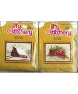Crewel Embroidery 2 Kits Winter Summer Barn Jiffy Stitchery Kit 1977 Vin... - $9.93