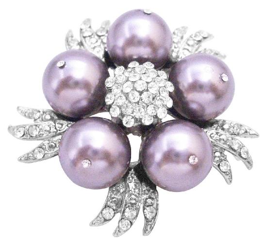 Pearls Brooch Cake Match Your Dress w/ Swarovski Mauve Brooch