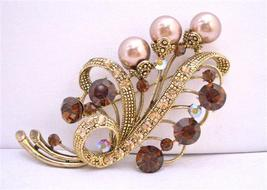 Gold Smoked Topaz Champagne Pearls Brooch for Brides or Bridesmaid - $26.38