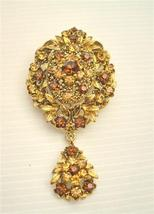 Gold Vintage Style Smoked Topaz Lite Smoked Crystals Brooch - $24.43