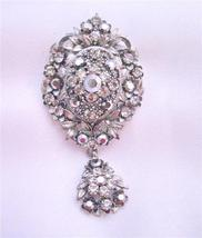 Vintage Oxidized Black Diamond Crystals Dangling Cubic Zircon Brooch - $26.38