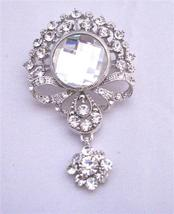 Simulated Diamond Dangling Encrusted Cubic Zircon Sparkling Brooch Pin - $26.38