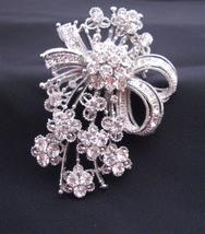 Dainty Brooch with Tiny Flowers Decorated Simulated Diamond CZ - $17.28