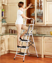 4-Step Ladder with Safety Rails Folding Portable Ladder Better Balance - $94.95