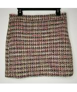 J Crew Womens Tweed Pink Purple Lined Skirt Size 6 Wool Blend - $29.99