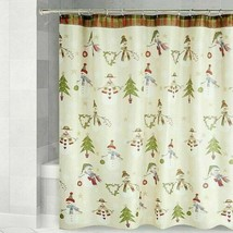 Avanti Linens Christmas Fabric Shower Curtain Holiday Snowman and Trees ... - $39.48
