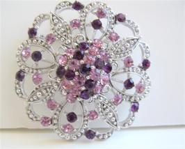 Round Sparkling Light & Dark Amethyst Crystals Brooch Pin - $17.28