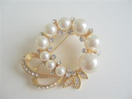 Elegant Formal Dress Gold Plated Brooch with Pearls & CZ - $16.63