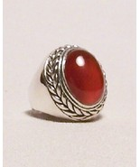Carnelian Sterling Silver Ring  Mens Unisex Size 8 MADE IN USA - $189.00