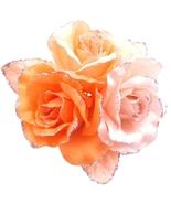 Satin Flower Creation Brooch Orange Pink Peach Gorgeous Dress Brooch - $11.43
