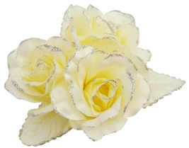 Satin Rose Flower Brooch Pin In Yellow Butter Color For Wedding Dress - $11.43