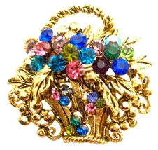 Gold Burnished Multi Colored Rhinestone Flower Basket Brooch Pin Gift - $14.68