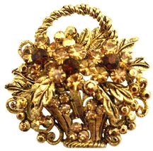 Antique Gold Basket Smoked Topaz & Colorado Cry... - $14.68