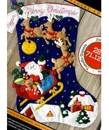 Jumbo Bucilla Christmas Night Santa Sleigh Rooftops Snow Felt Stocking K... - $57.95