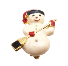Cute Snowman Brooch For Christmas Smiling Snowman Winter Cake Brooch - $8.18