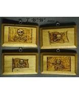 Set of 4 Handmade Wood Pirate Flag Plaque Signs Skull and Crossbones Jol... - $9.99