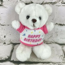 "Vintage Russ Berrie Happy Birthday Plush White 7"" Teddy Bear Toy In Pink Tee  - $14.84"