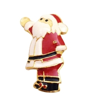 Whimsical Red Glittery Santa Clause Gold Brooch Pin Best Gift For Xmas - $8.18