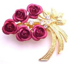 Red Rose Metal Brooch Valentine Gift Cake Brooch Pin Gold Stem & Leaf - $9.48