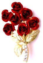 Valentine Gift Red Rose Bouquet Cake Brooch Pin Christmas Wedding Gift - $10.13