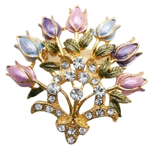 Enamel Floral Lotus Brooch Pin Very Fancy Detailed Colorful Floral Pin - $9.48