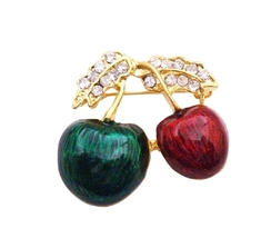 Perfect Decoration Birthday Wedding Cakes Hand Painted Cherry Brooch - $8.18